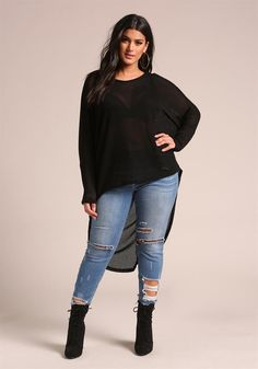 Plus Size Clothing | Plus Size Hi-Lo Pullover Knit Top | Debshops
