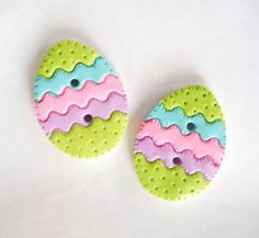 Quilted Easter Eggs handmade polymer clay buttons (2) $5.50 #etsy #sewing: