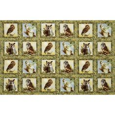 owl home decor fabric autumn in the forest metallic owls stacked brown gold from 11687