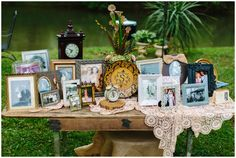 Family heirloom picture table...this is such a unique way to display family history.  Finch Photo