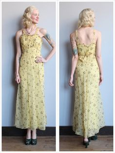 1930s Dress // Sweet Butterscotch Gown // by dethrosevintage