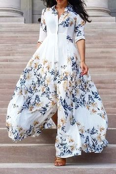 3/4 Sleeve Leaf Print High Slit Dress