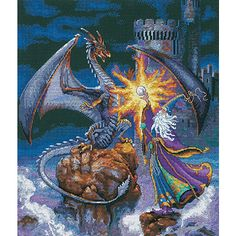 (cross stitch kit)Counted cross stitch features a brilliantly-colored battle between a dragon and a wizard.