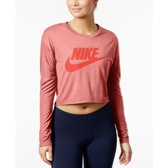 Nike Sportswear Essential Long Sleeve Cropped Top ($45) ❤ liked on Polyvore featuring tops, bright melon, nike, nike top, long sleeve tops, crop top and red crop top
