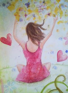 """Gorgeous art journal page...love!!!  """"Be Free"""" mainly in colored pencils by Belinda Lindhardt"""