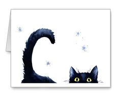 Sneaky Black Cat Note Cards by Watercolor Artist DJ Rogers | eBay