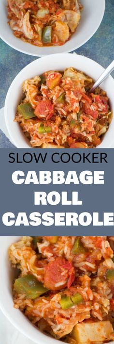 SLOW COOKER Cabbage Roll Casserole! This easy recipe is made in the crockpot and ready in 3 hours! This is a Polish family recipe called Halupkie!
