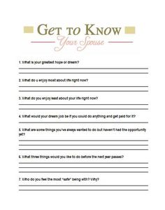 Get to Know Your Spouse Questions