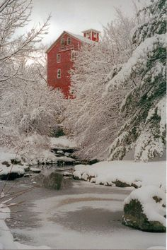 Barn surrounded by snow
