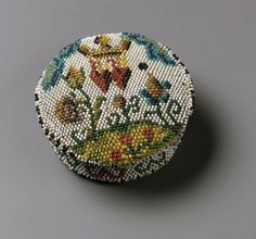 Sablé patch box and lid (lid) French ca. Beaded Shoes, Beaded Purses, Beaded Bags, Beaded Jewelry, Sewing Notions, Sewing Tools, Mourning Jewelry, Needle Book, Museum Of Fine Arts