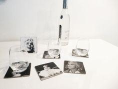 Lot de 6 dessous de verre design en isorel - Thème vieille photo Marilyn Monroe : Cuisine et service de table par k-ro-design