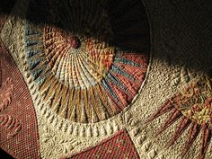 "Close-up of freehand heirloom quilting on my ""Susanna"" New York Beauty quilt."