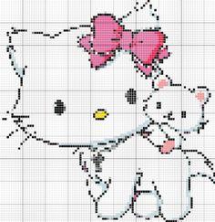 Hello Kitty em Artesanato - Ponto Cruz - mais gráficos ~ Arte De Fazer | Decoração e Artesanato