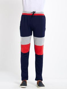 Self Designed Navy Cotton Trackpant