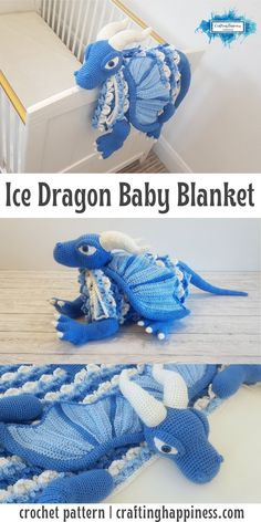 Ice Dragon Baby Blanket - it folds into a toy & can be used as a playmat or decoration for the nursery. Crochet pattern by Crafting Happiness Baby Afghan Crochet Patterns, Crochet Animal Patterns, Baby Blanket Crochet, Crochet Dragon Pattern, Crocheted Blankets, Crochet Afghans, Ice Dragon, Pixel Crochet, Crochet Octopus