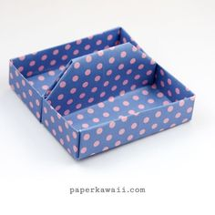 Learn how to make a square origami tray, table caddy or toolbox! Use this to keep things neat on your desk, or display jewellery, stationary, pens & more. Gato Origami, Origami Paper Folding, Origami Star Box, Origami Fish, Origami Art, Oragami, Dollar Origami, Origami Bookmark, Origami Instructions