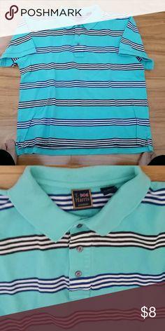 SOLD!!!!! Men's Polo golf shirt Aqua n blue/white  striped T.Harris London  Shirts Polos