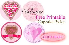 Valentine's Day - FREE printable cupcake picks! A great addition to any bake sale :)