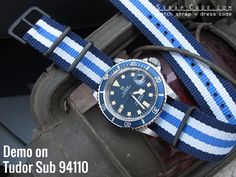 MiLTAT G10 military Blue & White Stripes watch strap demo on Tudor Prince Oyster Date Submariner 'Snowflake' 94110