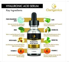 Hyaluronic Acid Anti Wrinkle Serum - Natural Facial Moisturizer for Dry, Sensitive, Oily Skin - Face Anti Aging Cream with Vitamin C + E for Women and Men - Best Organic Deep Line Repair & Reducer - Use Day & Night - Great for Eyes, Forehead, & Neck by Clarigenics