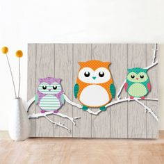 Pretty small cards with 3 owls on a branch in cheerfull colors, designed by Oktoberdots