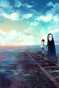Chihiro and No Face from Spirited Away