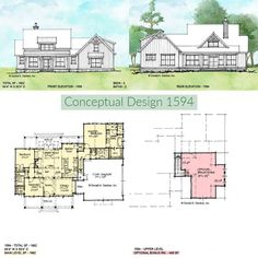 Conceptual Design 1594 is a simple modern farmhouse design with an open floor plan.  1662 sq ft | 3 Beds | 2 Baths   #wedesigndreams #modernfarmhouse Modern Farmhouse Design, Modern Farmhouse Exterior, Construction Drawings, Plan Drawing, One Story Homes, Conceptual Design, New House Plans, Built In Shelves, Types Of Houses