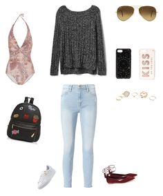 """Untitled #367"" by selise-miles on Polyvore featuring Melissa Odabash, Frame, Felony Case, Kate Spade, Ray-Ban, Loeffler Randall, Ollie & B, Gap and GUESS"