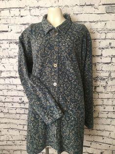 9f861246c02 Elisabeth By Liz Claiborne Vintage Blue Beige Button Down Plus Size 2  Blouse Top  LizClaiborne