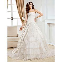 Ball Gown Strapless Chapel Train Satin And Organza Wedding Dress  – USD $ 449.99