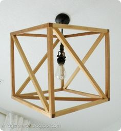Openwork Cube Pendant Light.  Full Tutorial on how to make your own @ Vintage Revivals