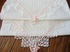 Pillowcases Hand Crocheted Trim Gorgeous by NettiesCollectibles
