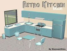 Mod The Sims - Retro Kitchen Recolor - Robin's Egg Blue The Sims 2, Sims 4, Retro Stove, 60s Furniture, Dinette Sets, Kitchen Canisters, Robins Egg, Retro Ideas, Black Kitchens
