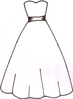 Wedding dress pattern. Use the printable outline for