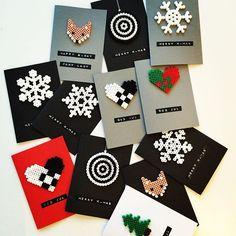 Christmas cards hama perler beads by reginehoen