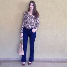 @lookbyus look trabalho do dia work outfit style fashion roupa moda tips jeans animal print casual friday