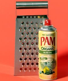 """Make that chunk of cheddar slide across your grater with ease by coating it with a little Pam."