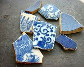 Sea Pottery Shards Mosaic Art Jewelry Beach Seaglass Craft Blue Pattern