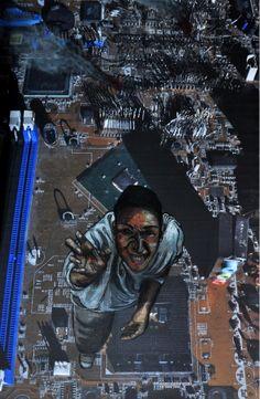 Inside the copter mixed media disegno su foto arte contemporanea mother board