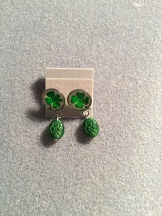 Four leaf Clover cabochon post earring with by HappyHobbyJewelry