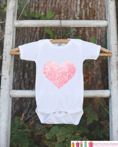 Valentine's Day Outfit - Pink Heart Bodysuit Onepiece - Novelty Bodysuit Makes a Great Baby Shower Gift for a New Baby Girl - Heart Shirt