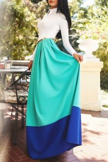 Turn-Down Collar Color Block Long Sleeve Dress