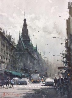 Australian watercolor artist Joseph Zbukvic shares his secret for painting quickly and directly to create atmosphere. Watercolor Architecture, Watercolor Landscape, Landscape Art, Landscape Paintings, Watercolor Artists, Artist Painting, Painting & Drawing, Watercolor Paintings, Watercolours