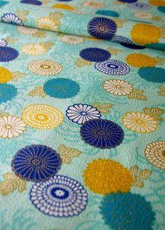Japanese floral tirimen fabric