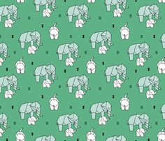 Geometric elephants origami paper art safari theme mother and baby gender neutral green mint - fabric and wallpaper design by Little Smilemakers Studio at Spoonflower
