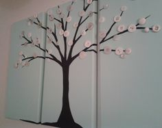 Robins egg blue button tree with antique white buttons :)