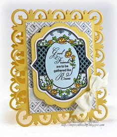 Friendship Card using Spring Rose Medallions and Lattice Background stamps by JustRite Papercraft - by Kathy Jones