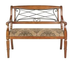 Safavieh AMH4011 Gramercy Iron and Birch Bench Light Brown Furniture Seating Benches