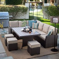 Amazon.com : Dark Brown Modern All Weather Wicker Aluminum Sofa Sectional Patio Dining Set | Perfect Contemporary Cushioned Sofa, Right & Left Arm Sectionals, 3 Ottomans & a Dining Table Furniture Set for Your Home Outdoors by the BBQ Grill, Garden or Firepit : Patio, Lawn & Garden