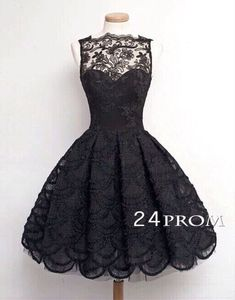 BLACK A-LINE LACE SHORT PROM DRESS, HOMECOMING DRESSES - 24PROM